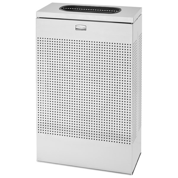 Rubbermaid FGSR14SSRB Silhouettes Stainless Steel Designer Rectangular Waste Receptacle - 25 Gallon Main Image 1