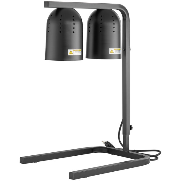 Winco EHL-3C Black Free Standing Heat Lamp with 2 Bulbs - 120V, 500W Main Image 1