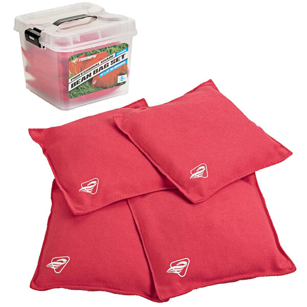 Triumph 12-0055RD-2W 16 oz. Red Canvas Duck Cloth Bean Bags - 4/Pack Main Image 1