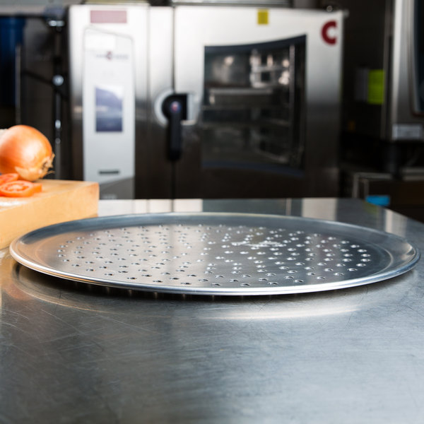 """American Metalcraft PHACTP14 14"""" Perforated Heavy Weight Aluminum Coupe Pizza Pan Main Image 4"""