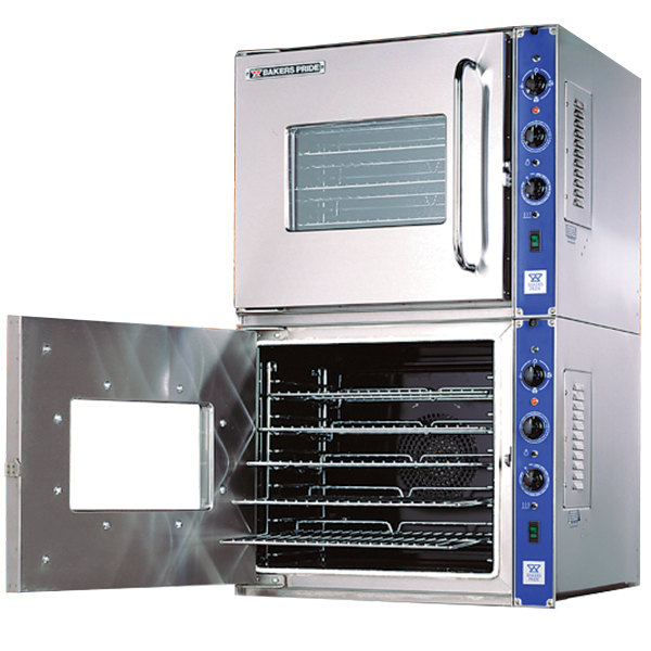 Bakers Pride COC-E2 Cyclone Series Double Deck Half Size Electric Convection Oven, Left Hand Hinge - 220-240V, 3 Phase, 19 kW