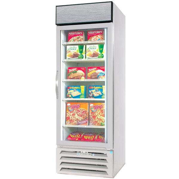 Beverage Air MMF23-1-W-LED White Marketmax Glass Door Merchandising Freezer with LED Lighting and Swing Door - 23 Cu. Ft.