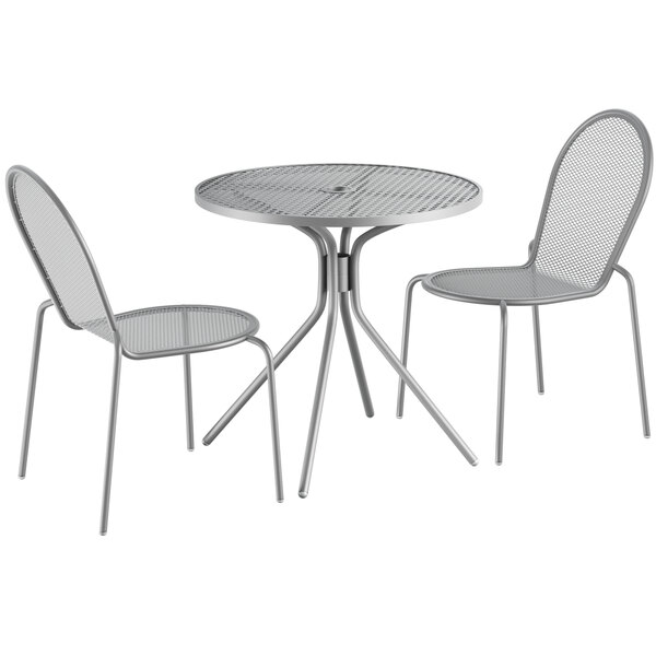 """Lancaster Table & Seating Harbor Gray 30"""" Round Dining Height Powder-Coated Steel Mesh Table with Modern Legs and 2 Side Chairs Main Image 1"""