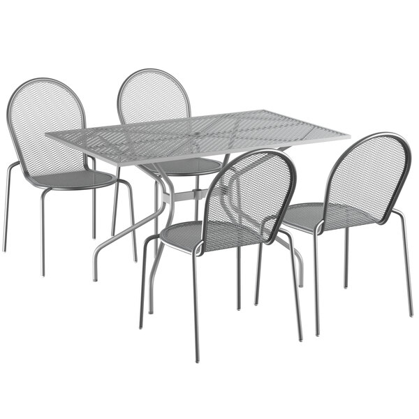 """Lancaster Table & Seating Harbor Gray 30"""" x 48"""" Rectangular Dining Height Powder-Coated Steel Mesh Table with Modern Legs and 4 Side Chairs Main Image 1"""