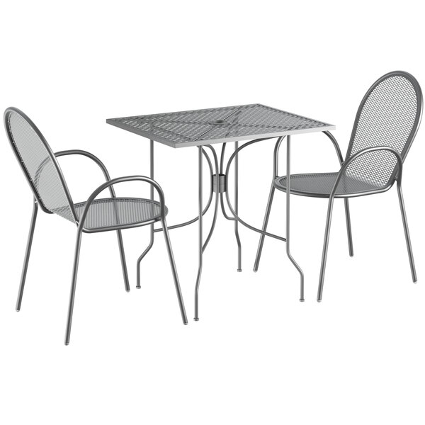 """Lancaster Table & Seating Harbor Gray 24"""" x 30"""" Rectangular Dining Height Powder-Coated Steel Mesh Table with Ornate Legs and 2 Armchairs Main Image 1"""