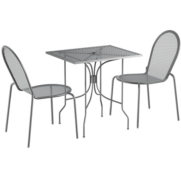 """Lancaster Table & Seating Harbor Gray 24"""" x 30"""" Rectangular Dining Height Powder-Coated Steel Mesh Table with Ornate Legs and 2 Side Chairs Main Image 1"""