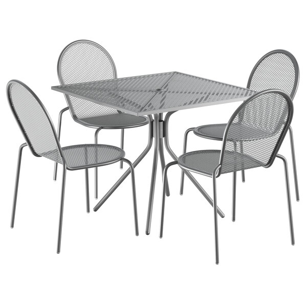 """Lancaster Table & Seating Harbor Gray 36"""" Square Dining Height Powder-Coated Steel Mesh Table with Modern Legs and 4 Side Chairs Main Image 1"""