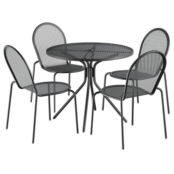 """Lancaster Table & Seating Harbor Black 36"""" Round Dining Height Powder-Coated Steel Mesh Table with Modern Legs and 4 Side Chairs Main Image 1"""