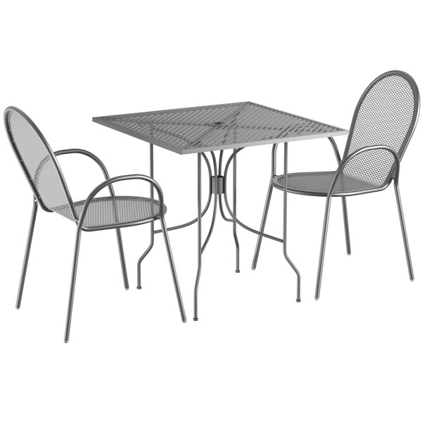 """Lancaster Table & Seating Harbor Gray 30"""" Square Dining Height Powder-Coated Steel Mesh Table with Ornate Legs and 2 Armchairs Main Image 1"""