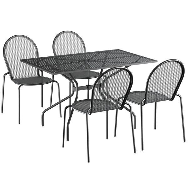 """Lancaster Table & Seating Harbor Black 30"""" x 48"""" Rectangular Dining Height Powder-Coated Steel Mesh Table with Modern Legs and 4 Side Chairs Main Image 1"""