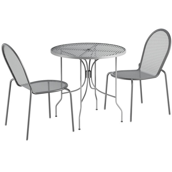 """Lancaster Table & Seating Harbor Gray 30"""" Round Dining Height Powder-Coated Steel Mesh Table with Ornate Legs and 2 Side Chairs Main Image 1"""