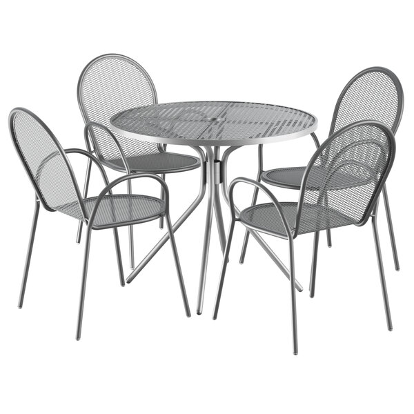 """Lancaster Table & Seating Harbor Gray 36"""" Round Dining Height Powder-Coated Steel Mesh Table with Modern Legs and 4 Armchairs Main Image 1"""