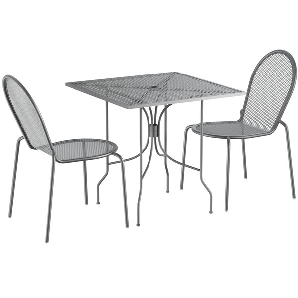 """Lancaster Table & Seating Harbor Gray 30"""" Square Dining Height Powder-Coated Steel Mesh Table with Ornate Legs and 2 Side Chairs Main Image 1"""