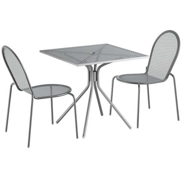 """Lancaster Table & Seating Harbor Gray 30"""" Square Dining Height Powder-Coated Steel Mesh Table with Modern Legs and 2 Side Chairs Main Image 1"""