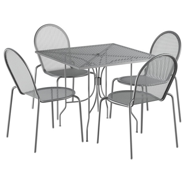 """Lancaster Table & Seating Harbor Gray 36"""" Square Dining Height Powder-Coated Steel Mesh Table with Ornate Legs and 4 Side Chairs Main Image 1"""
