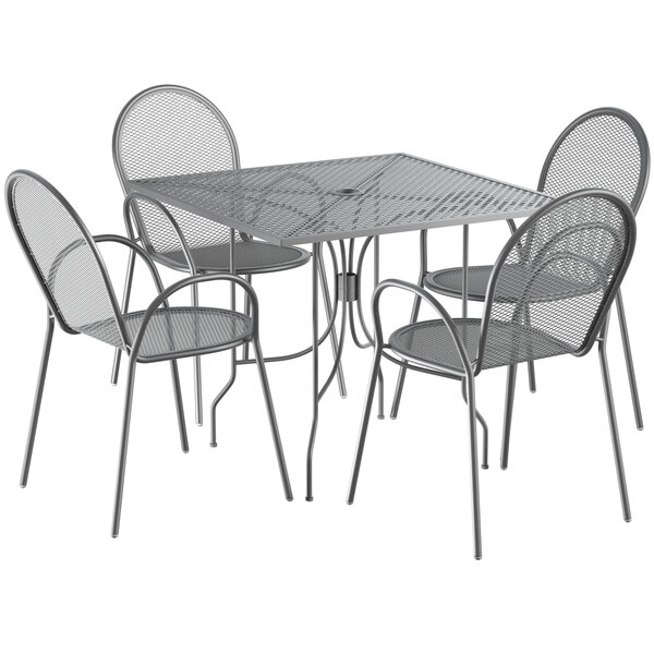 """Lancaster Table & Seating Harbor Gray 36"""" Square Dining Height Powder-Coated Steel Mesh Table with Ornate Legs and 4 Armchairs Main Image 1"""