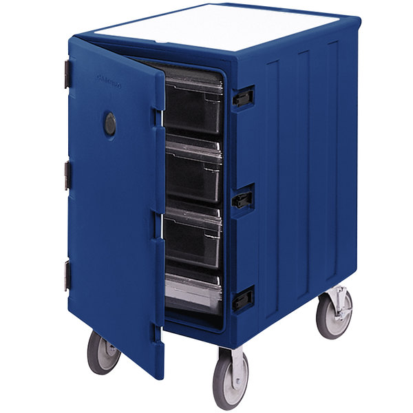 """Cambro 1826LBC186 Camcart Navy Blue Single Compartment Mobile Cart for 18"""" x 26"""" Food Storage Boxes"""