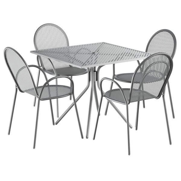 """Lancaster Table & Seating Harbor Gray 36"""" Square Dining Height Powder-Coated Steel Mesh Table with Modern Legs and 4 Armchairs Main Image 1"""