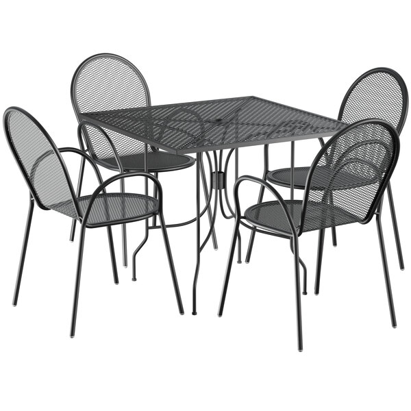"""Lancaster Table & Seating Harbor Black 36"""" Square Dining Height Powder-Coated Steel Mesh Table with Ornate Legs and 4 Armchairs Main Image 1"""