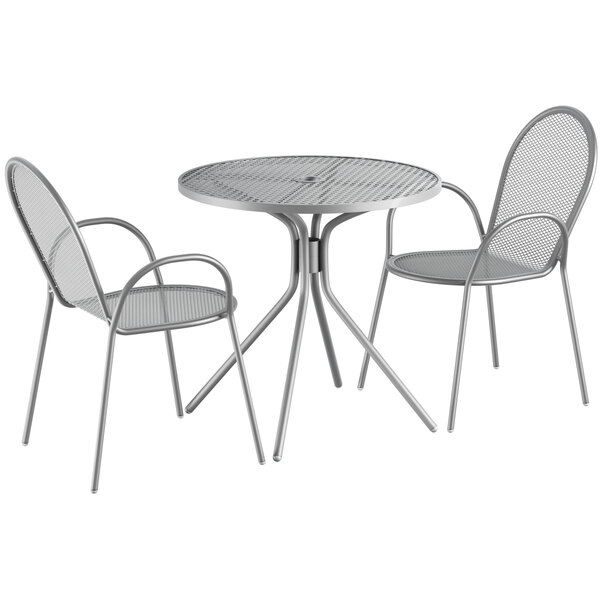 """Lancaster Table & Seating Harbor Gray 30"""" Round Dining Height Powder-Coated Steel Mesh Table with Modern Legs and 2 Armchairs Main Image 1"""