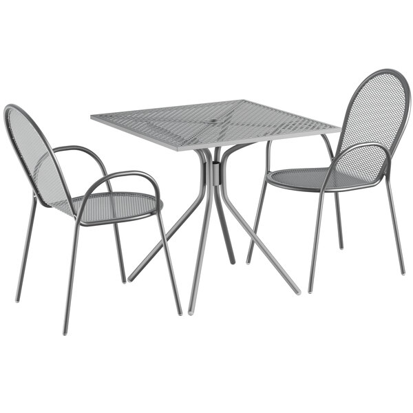 """Lancaster Table & Seating Harbor Gray 30"""" Square Dining Height Powder-Coated Steel Mesh Table with Modern Legs and 2 Armchairs Main Image 1"""