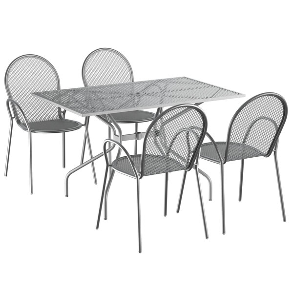 """Lancaster Table & Seating Harbor Gray 30"""" x 48"""" Rectangular Dining Height Powder-Coated Steel Mesh Table with Modern Legs and 4 Armchairs Main Image 1"""