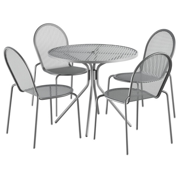 """Lancaster Table & Seating Harbor Gray 36"""" Round Dining Height Powder-Coated Steel Mesh Table with Modern Legs and 4 Side Chairs Main Image 1"""