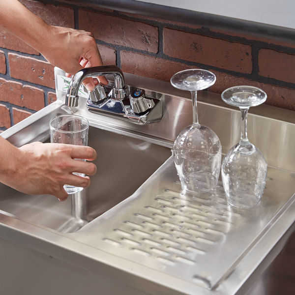 """Left Drainboard Regency 1 Bowl Underbar Sink with Drainboard and Faucet - 24"""" x 18 3/4"""""""