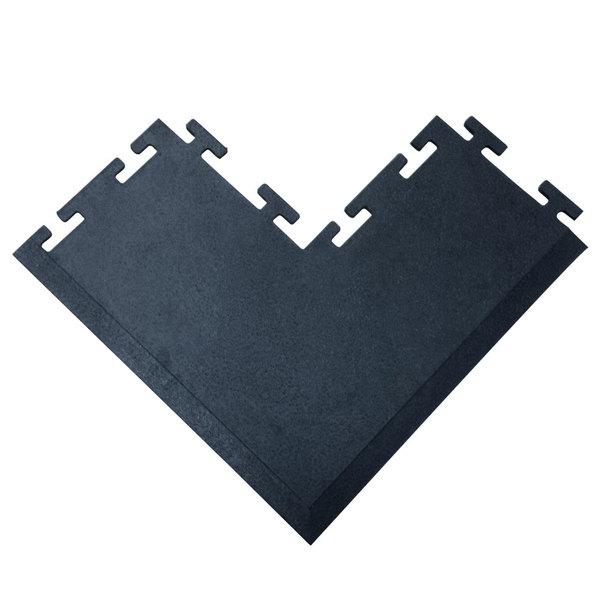 "Cactus Mat 2560-COC Tile Lock 12"" x 24"" Black Rubber Interlocking Outside Corner Weight Room Mat - 3/8"" Thick Main Image 1"