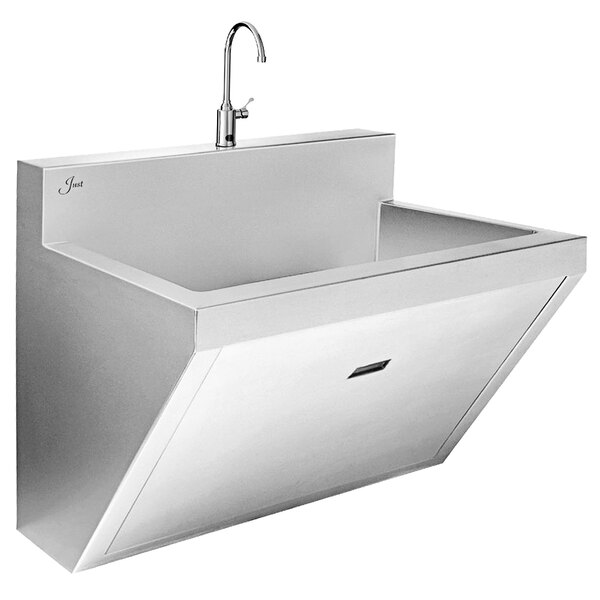 """Just Manufacturing J7701S Stainless Steel Wall Hung Single Bowl Surgeon Scrub Sink with 1 Sensor Faucet - 30"""" x 17 1/2"""" x 11"""" Bowl Main Image 1"""
