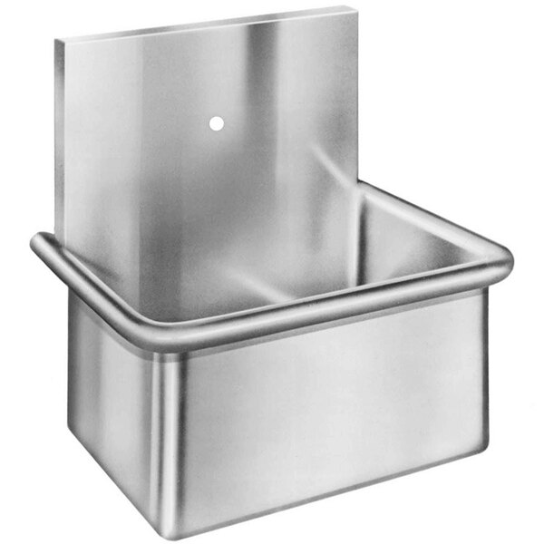 """Just Manufacturing A186651 Stainless Steel Wall Hung Single Bowl Surgeon Scrub Sink with 1 Faucet Hole - 20"""" x 15"""" x 12"""" Bowl Main Image 1"""