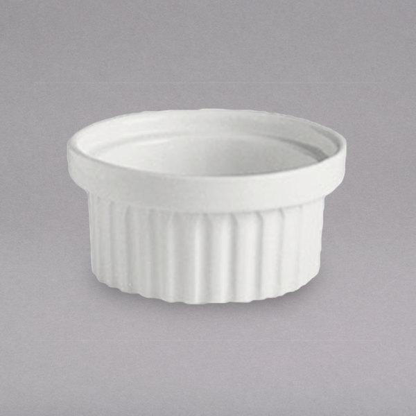 Hall China 1160AWHA Ivory (American White) 6 oz. Stacking China Ramekin - 24/Case