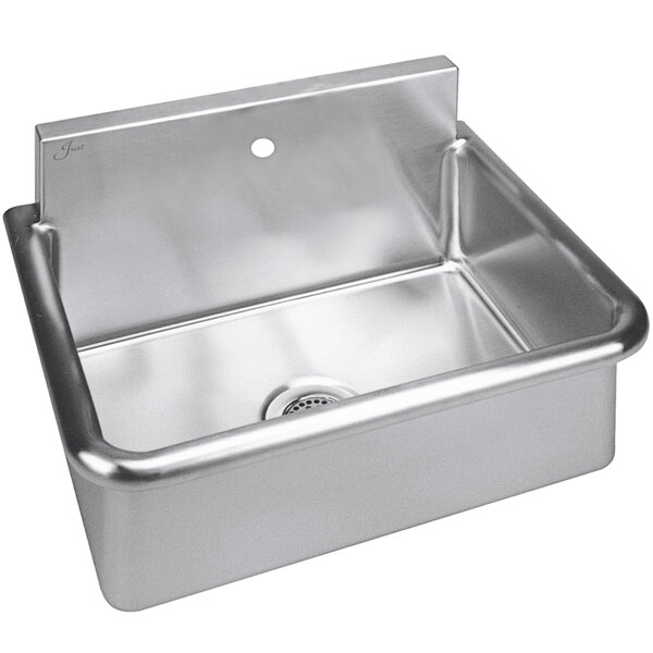 """Just Manufacturing JS1221 Stainless Steel Wall Hung Single Bowl Surgeon Scrub Sink with 1 Faucet Hole - 22"""" x 16"""" x 10 1/2"""" Bowl Main Image 1"""