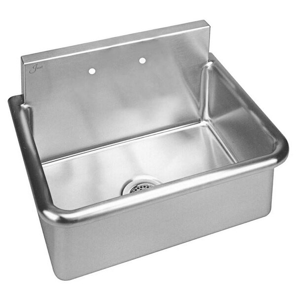 """Just Manufacturing A186642 Stainless Steel Wall Hung Single Bowl Surgeon Scrub Sink with 2 Faucet Holes - 28"""" x 20"""" x 10 1/2"""" Bowl Main Image 1"""