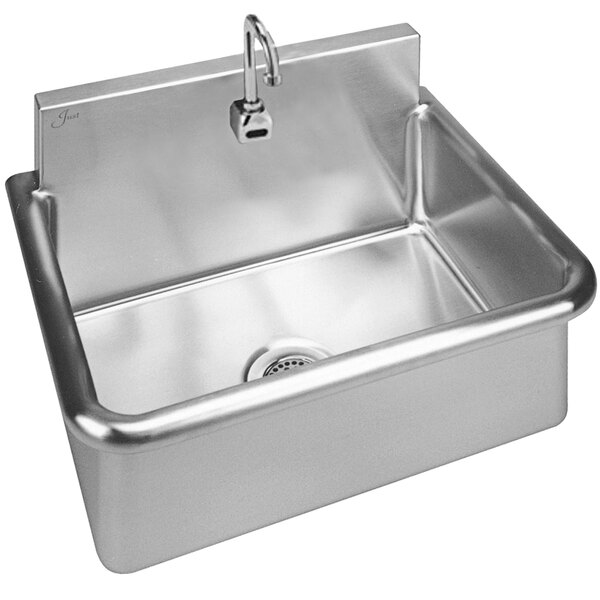 """Just Manufacturing JS122S Stainless Steel Wall Hung Single Bowl Surgeon Scrub Sink with 1 Sensor Faucet - 22"""" x 16"""" x 10 1/2"""" Bowl Main Image 1"""