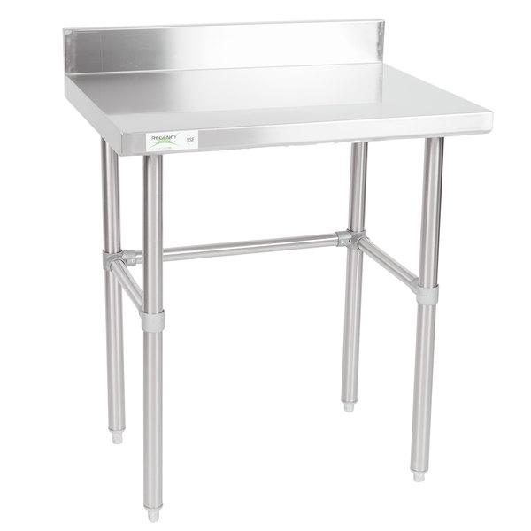 "Regency 24"" x 30"" 16-Gauge 304 Stainless Steel Commercial Open Base Work Table with 4"" Backsplash Main Image 1"