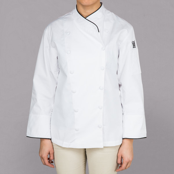 Chef Revival Corporate LJ008 Ladies White Customizable Executive Long Sleeve Coat with Black Piping - L Main Image 1