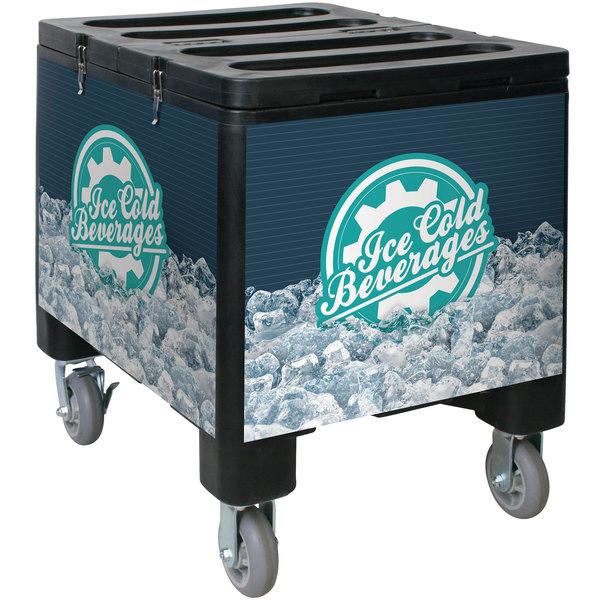 IRP 2000 Black Ice Caddy 200 lb. Mobile Ice Bin / Beverage Merchandiser