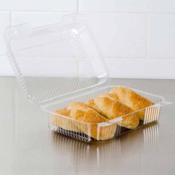 """Dart C40UT1 StayLock 9 3/8"""" x 6 3/4"""" x 3 1/8"""" Clear Hinged Plastic Medium High Dome Oblong Container - 250/Case"""