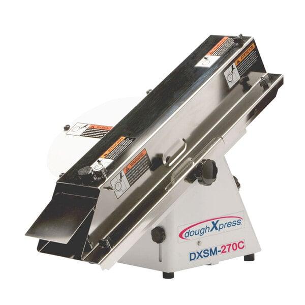 "DoughXpress DXSM-270CE Compact Bun and Bagel Slicer - 1/2"" to 1 1/2"" Adjustable Slice Thickness - 240V, 1/2 hp Main Image 1"
