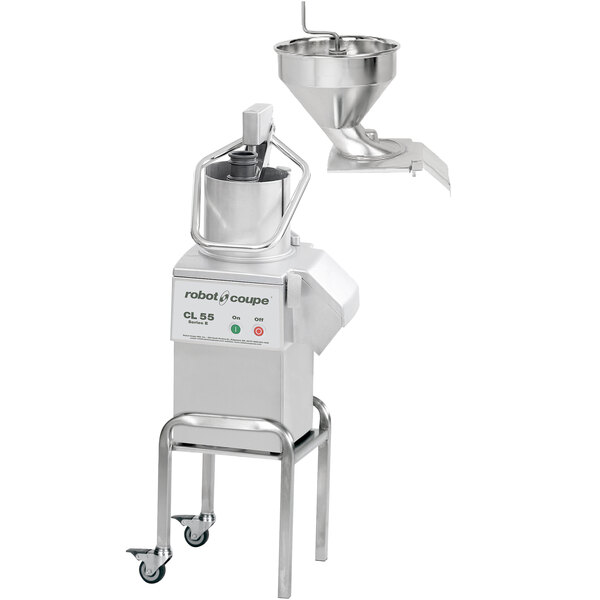 Robot Coupe CL55 2 Feed-Heads Continuous Feed Food Processor with Full Moon Pusher Feed & Bulk Feed - 2 1/2 hp Main Image 1
