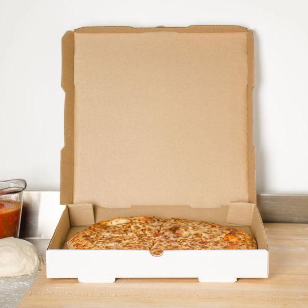 "16"" x 16"" x 1 3/4"" White Corrugated Plain Pizza / Bakery Box - 50/Case"