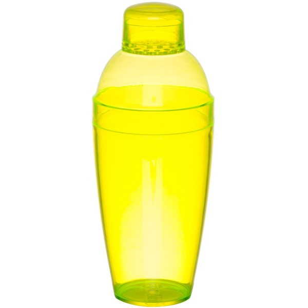 Fineline Quenchers 4103-Y 14 oz. Disposable Yellow Plastic Shaker - 24/Case Main Image 1