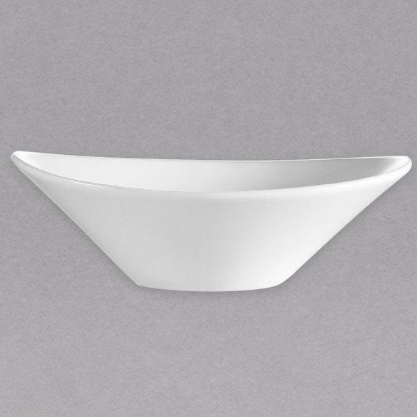 CAC F-OV9 Sushia 22 oz. Super White Oval Porcelain Salad Bowl - 12/Case