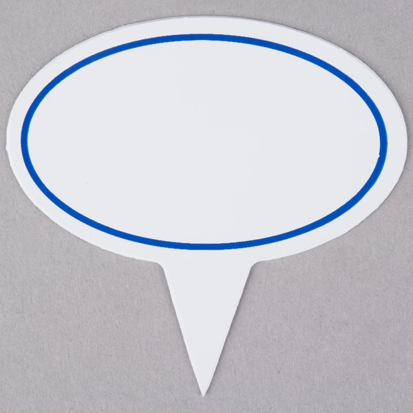 """Oval Write On Deli Sign Spear with Solid Blue Border 2 5/8""""L X 1 5/8""""H - 25/Pack"""