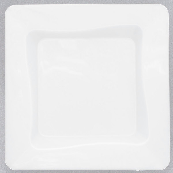 Fineline Tiny Temptations 6200-WH 3 inch x 3 inch Tiny Trays Disposable White Plastic Tray - 200/Case