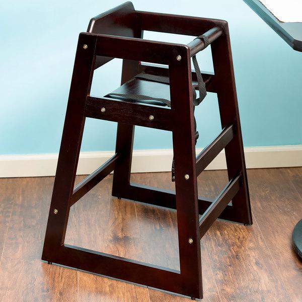 Stacking Restaurant Wood High Chair with Dark Brown Finish - Unassembled