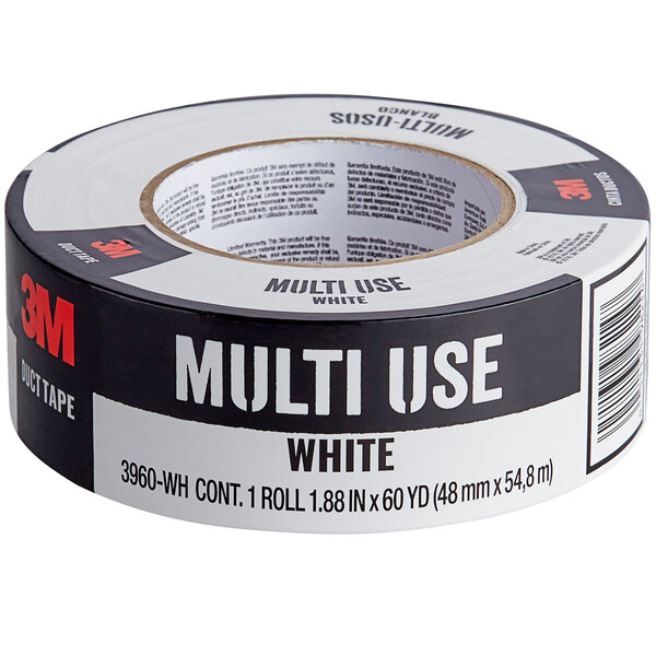 """3M 1 7/8"""" x 60 Yards White Multi-Use Duct Tape 3960-WH Main Image 1"""