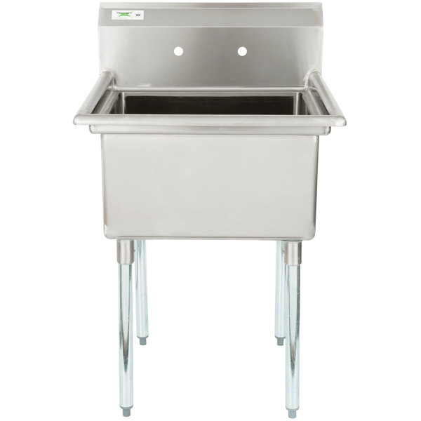 "Regency 28"" 16-Gauge Stainless Steel One Compartment Commercial Sink without Drainboard - 23"" x 23"" x 12"" Bowl"