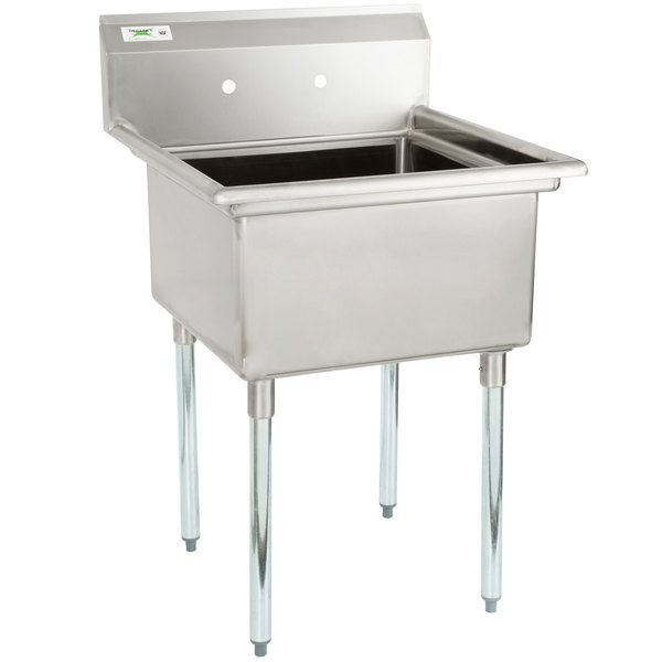 """Regency 28"""" 16-Gauge Stainless Steel One Compartment Commercial Sink with Galvanized Steel Legs and without Drainboard - 23"""" x 23"""" x 12"""" Bowl Main Image 1"""